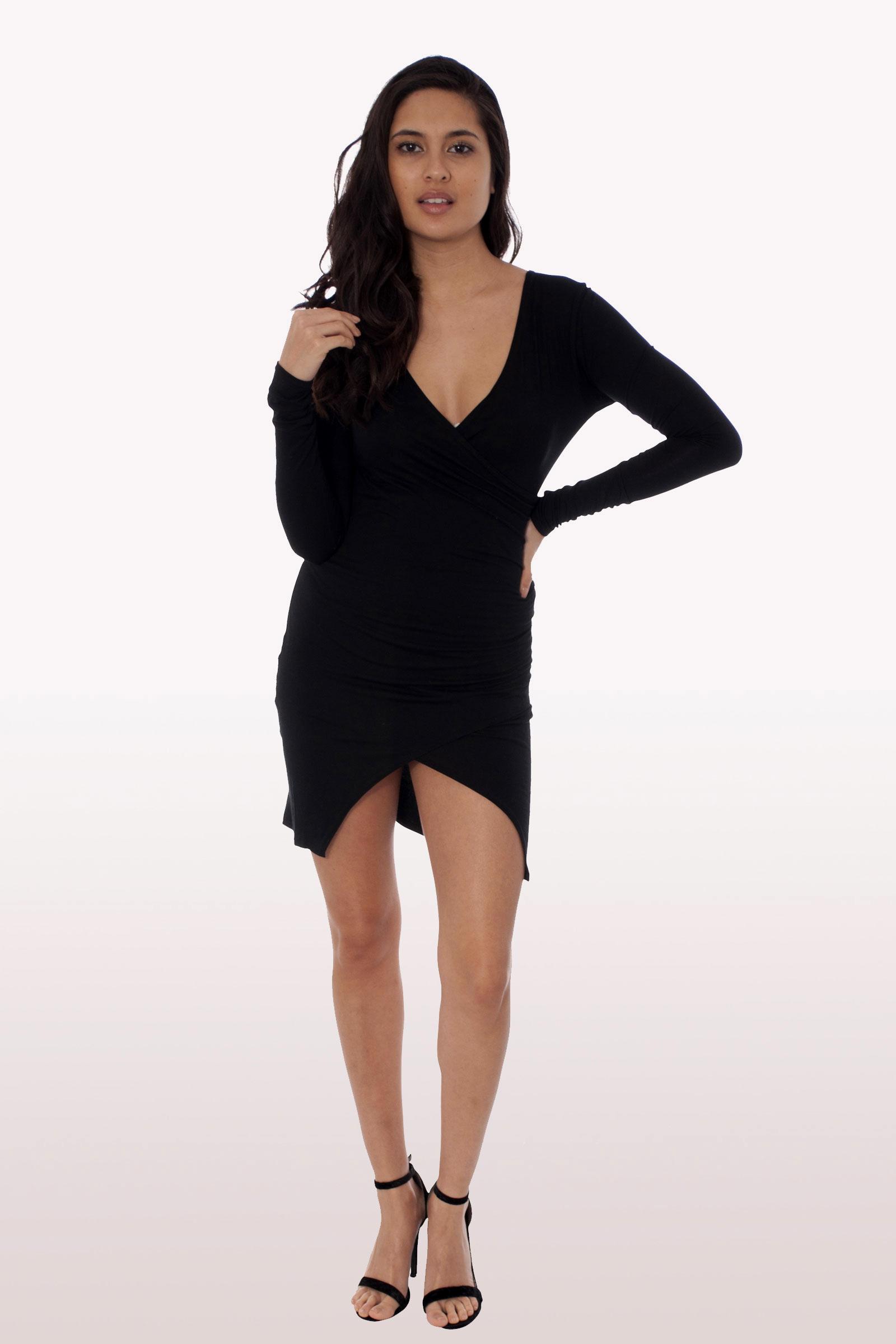 Black Long Sleeve Wrap Over Bodycon Dress Dresses Modamore