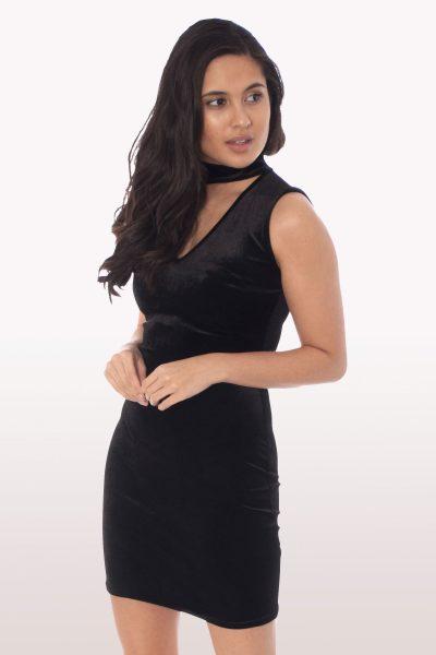 Black Velvet Choker Bodycon Mini Dress