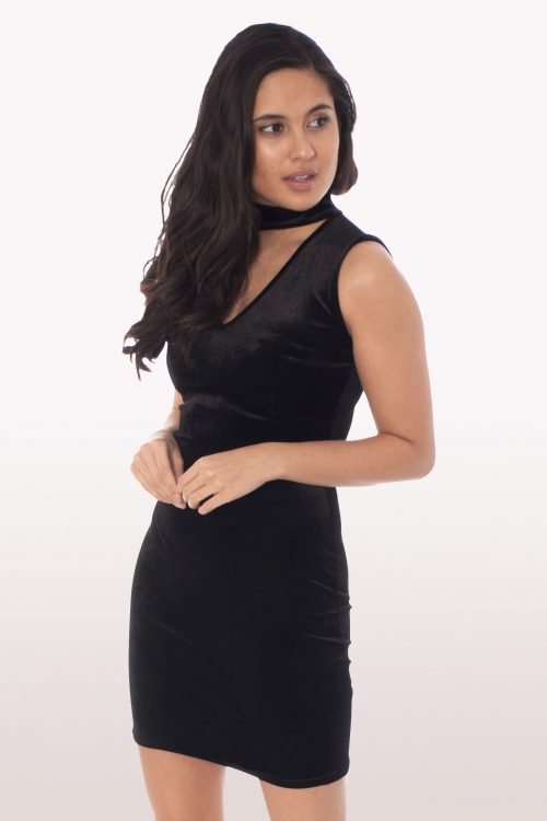 Black Velvet Choker Bodycon Mini Dress
