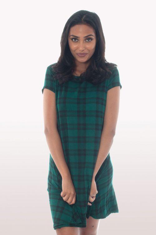 Bottle Green Tartan Short Sleeve Swing Dress