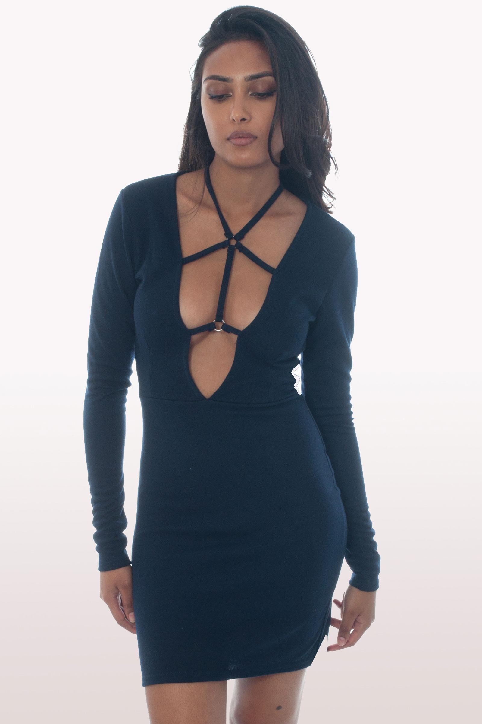 Navy Harness Mini Bodycon Dress Dresses Modamore