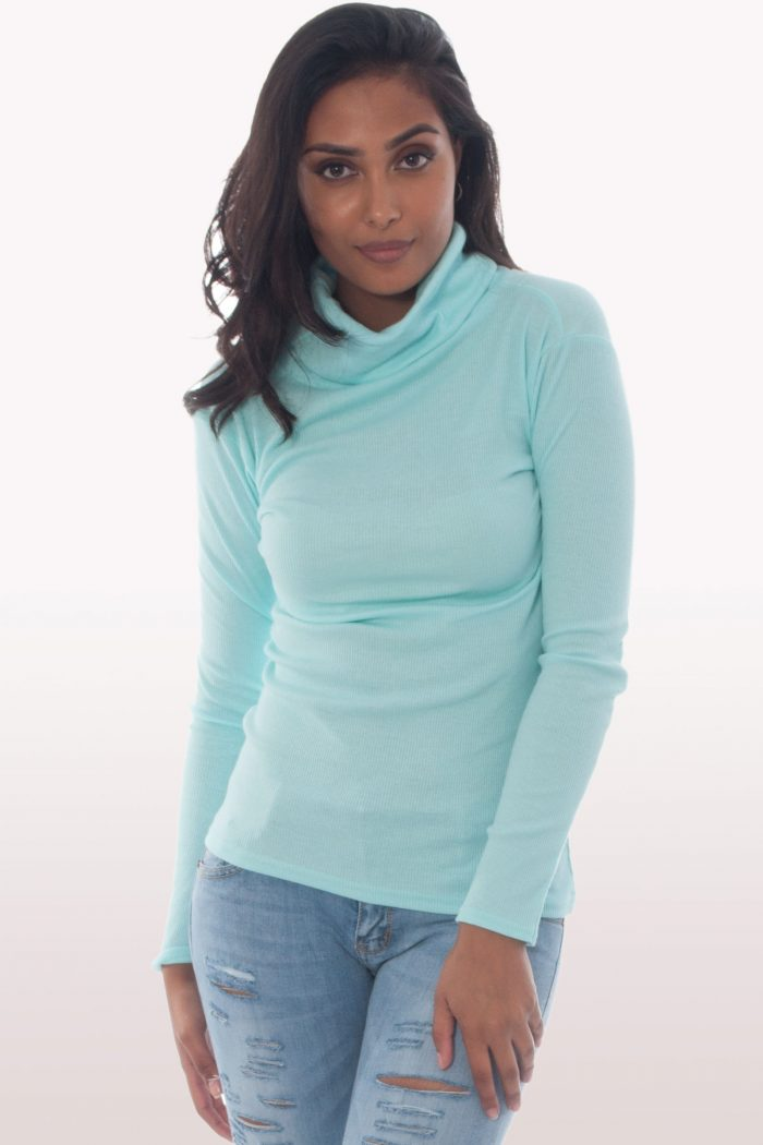mint ribbed polo neck jumper