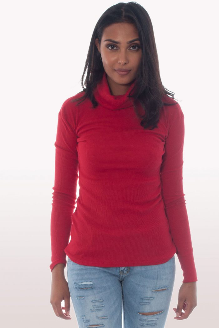 Red Ribbed Polo Neck Knit Jumper
