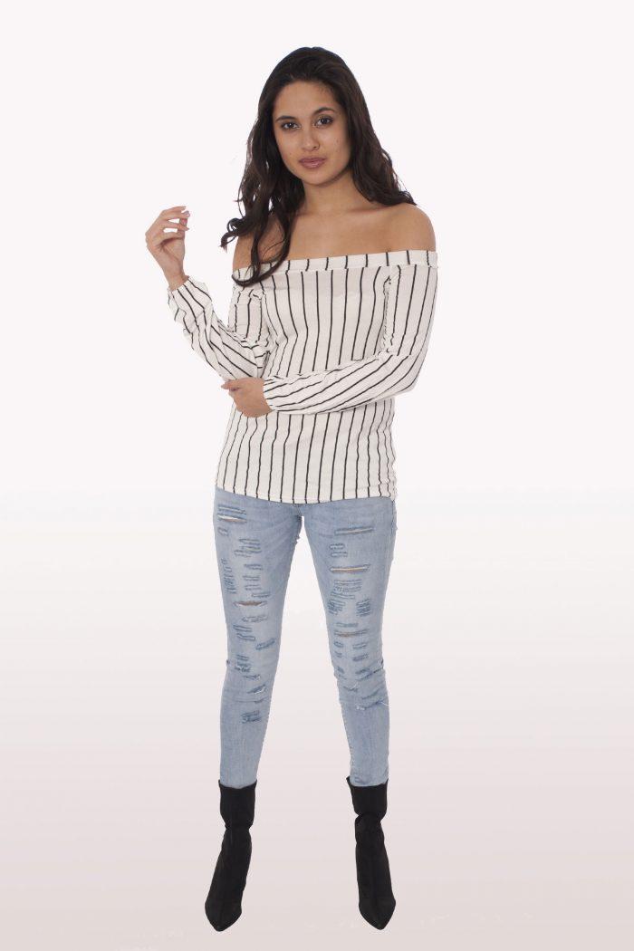 Stripe Long Sleeve Bardot Top