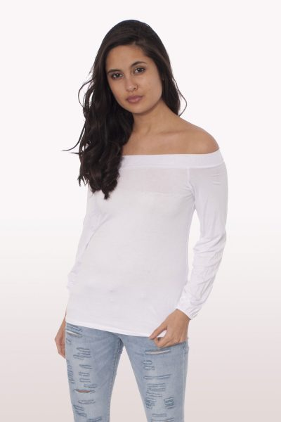 White Long Sleeve Bardot Top