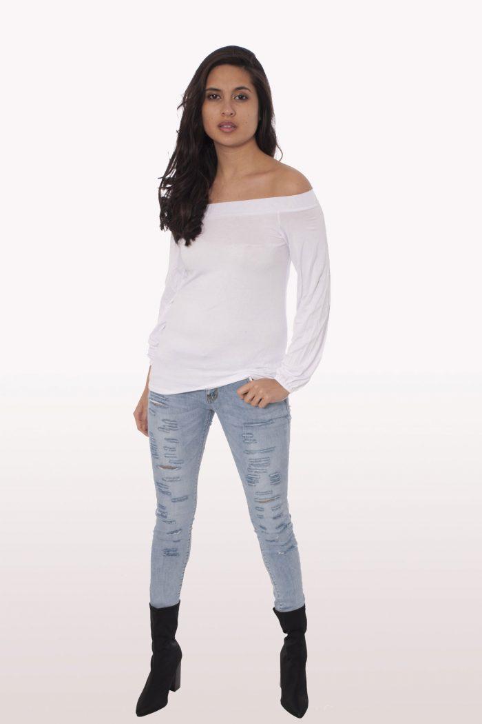 White Long Sleeve Bardot Top