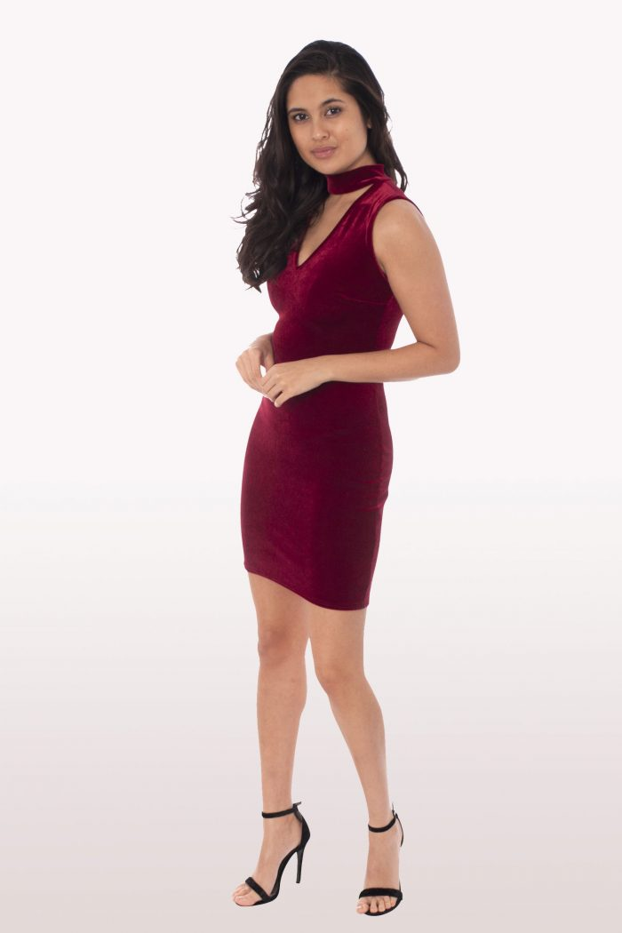 Wine Velvet Choker Bodycon Mini Dress