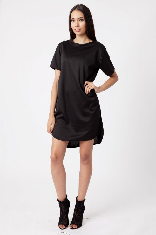 Black Ponte Step Hem Shift Dress