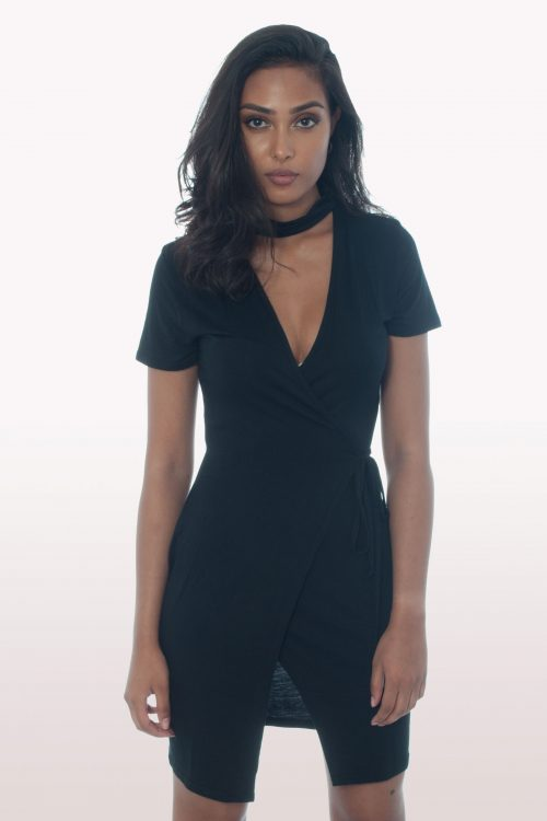 Black Choker Wrap Over Dress