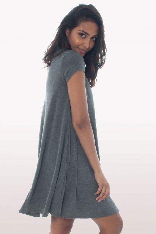 Charcoal Grey Short Sleeve Swing Dress