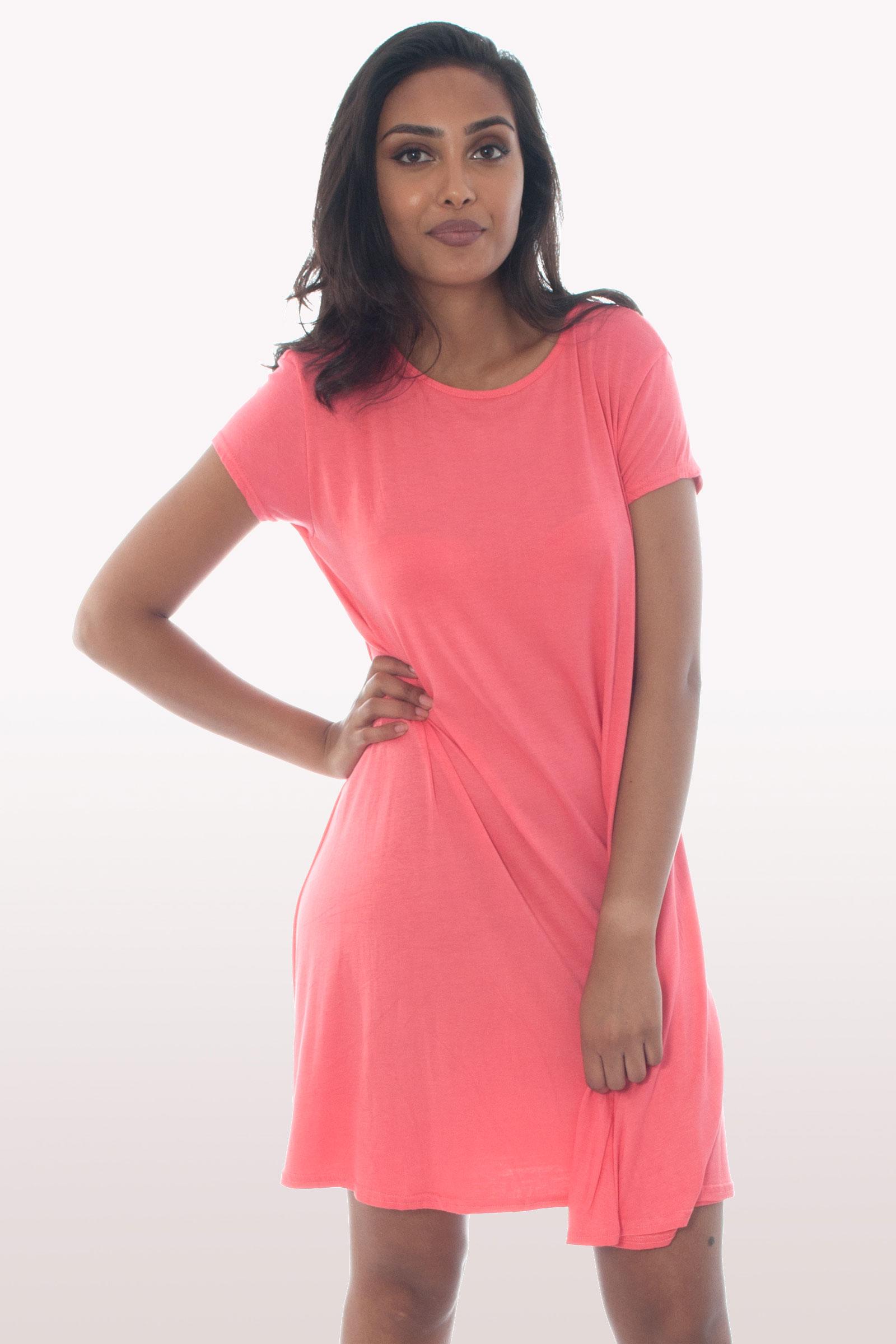 Coral Short Sleeve Swing Dress Dresses Modamore