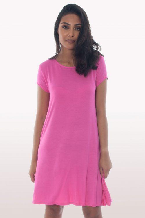 Hot Pink Short Sleeve Swing Dress