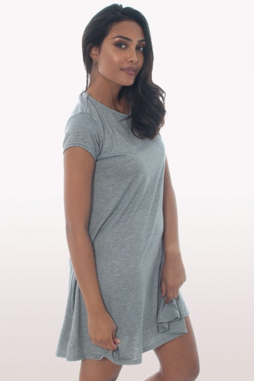 Light Grey Short Sleeve Swing Dress
