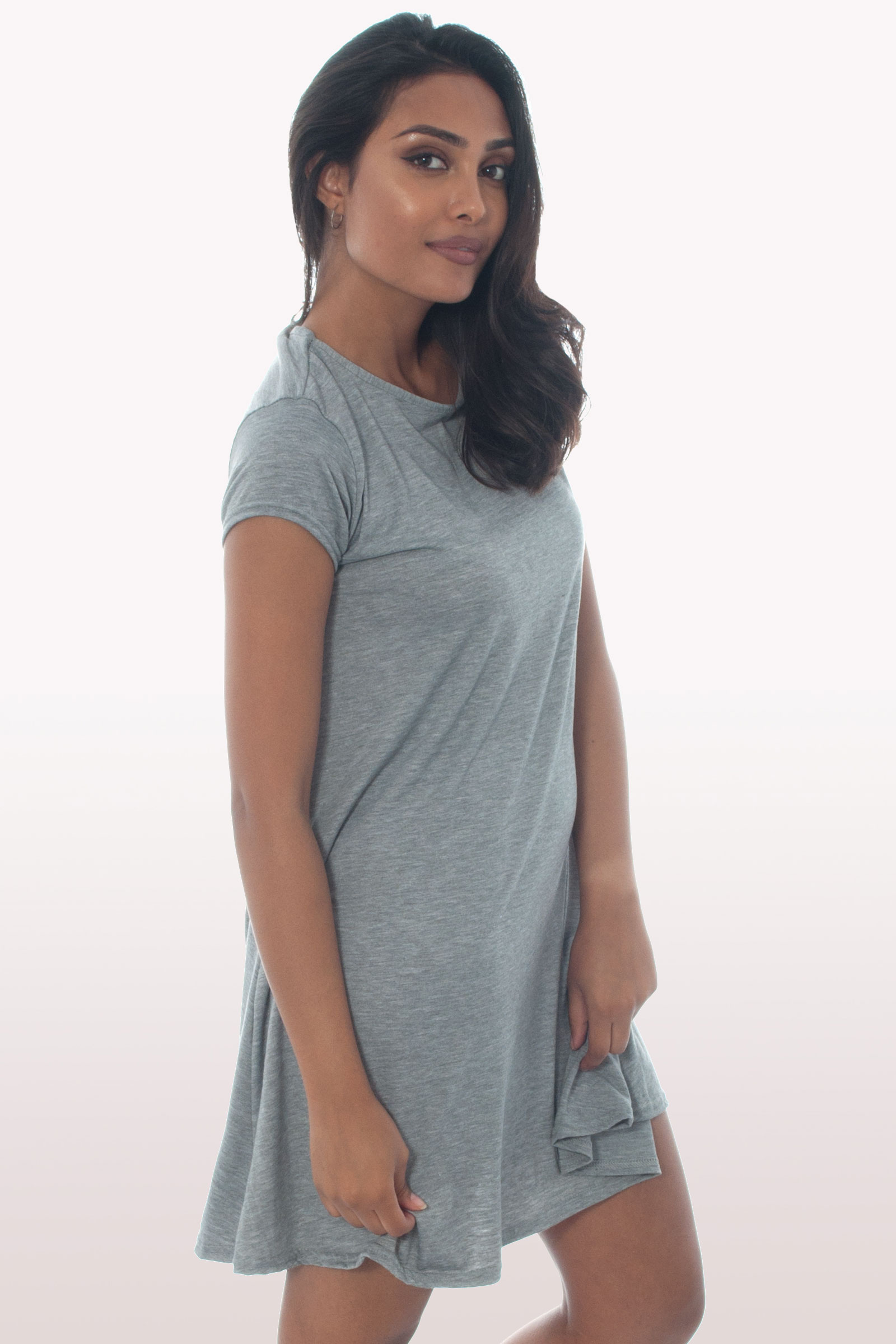 94e7d785cbfa Light Grey Short Sleeve Swing Dress