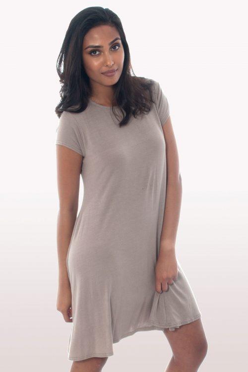 Mocha Short Sleeve Swing Dress