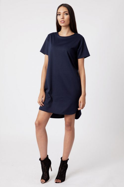 Navy Ponte Step Hem Shift Dress