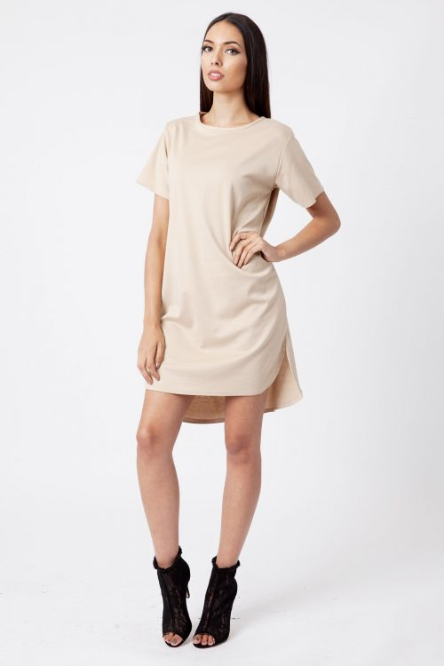 Stone Ponte Step Hem Shift Dress