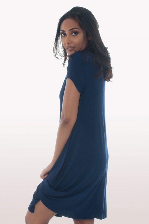 Navy Blue Short Sleeve Swing Dress