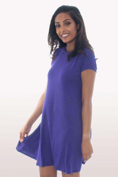 Purple Short Sleeve Swing Dress