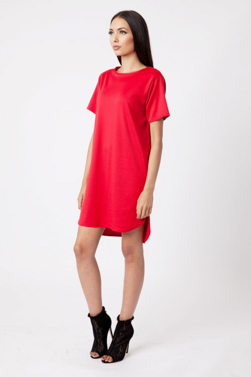 Red Ponte Step Hem Shift Dress