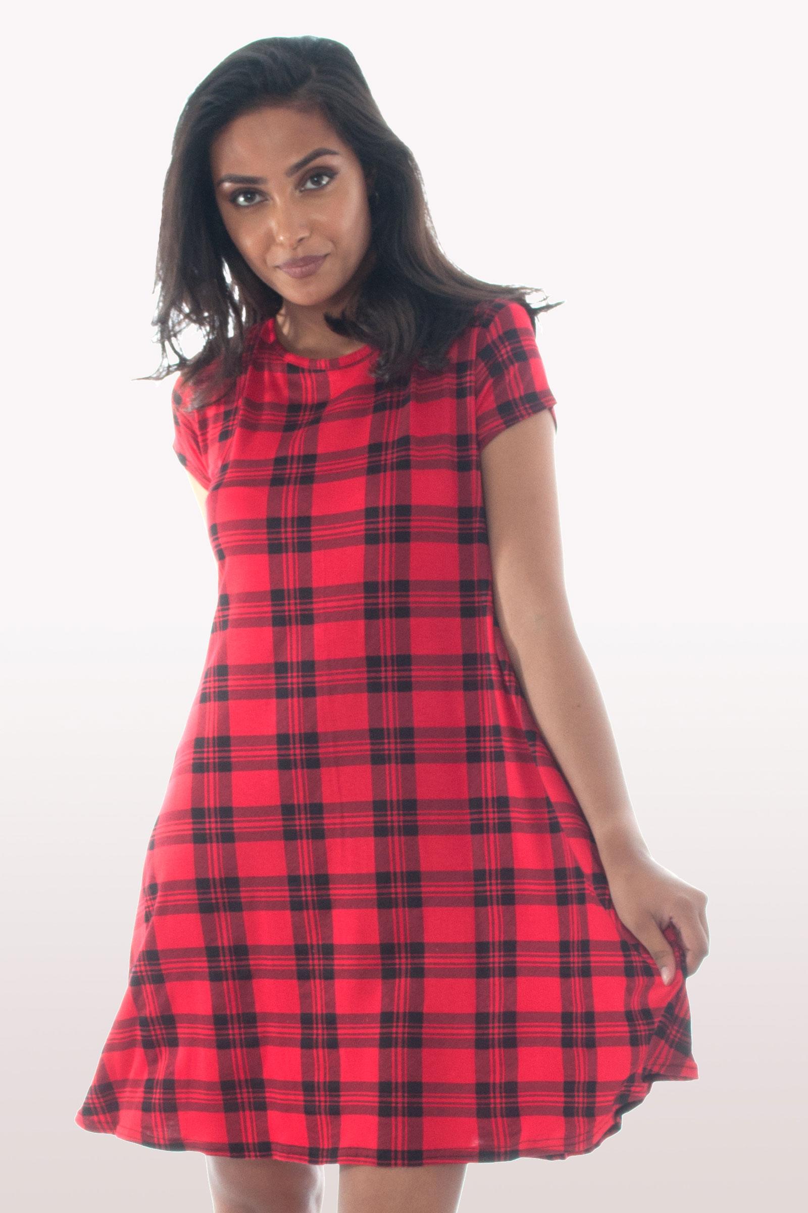 Tartan Short Sleeve Swing Dress Dresses Modamore