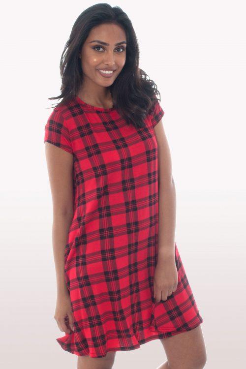 Tartan Short Sleeve Swing Dress