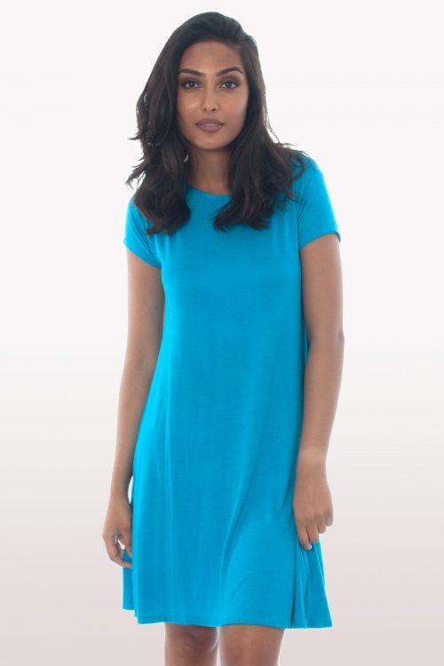 Turquoise Short Sleeve Swing Dress