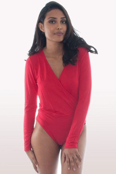 red plunge wrap over bodysuit