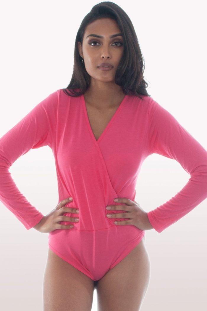 Hot Pink Plunge Wrap Over Bodysuit