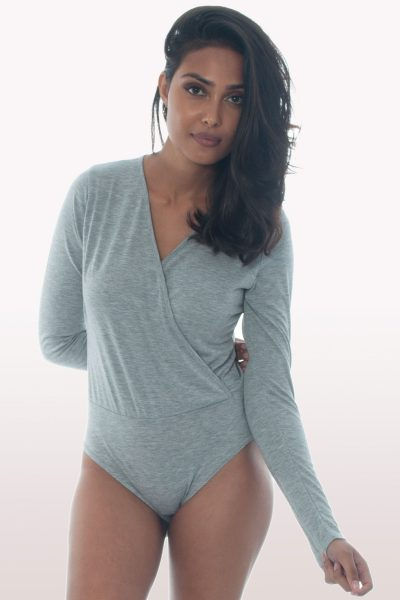 light grey plunge wrap over bodysuit
