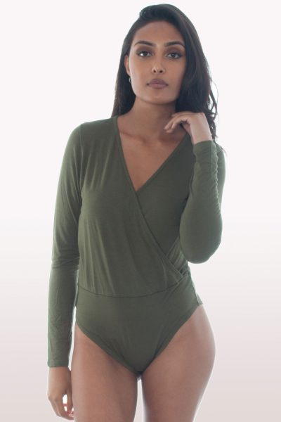 Khaki Plunge Wrap Over Bodysuit