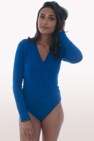 royal blue plunge wrap over bodysuit