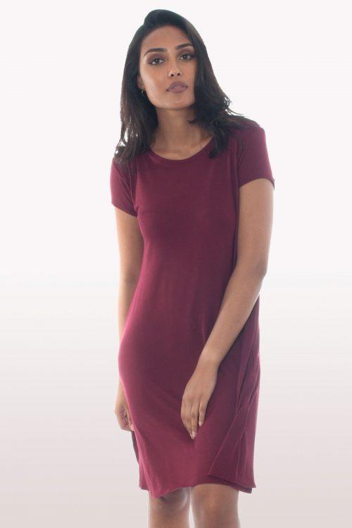 Wine Short Sleeve Swing Dress