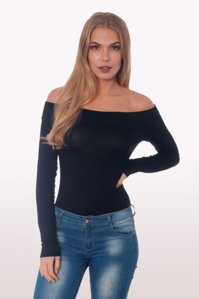 Black Bardot Long Sleeve Bodysuit