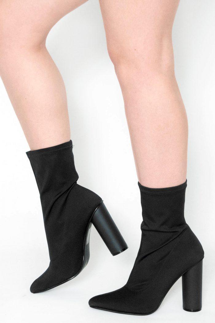 Vienna Black Stretch Lycra Boots