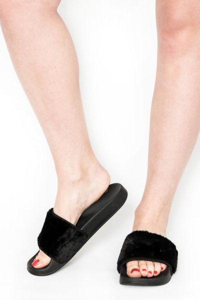 Acacia Black Faux Fur Sliders
