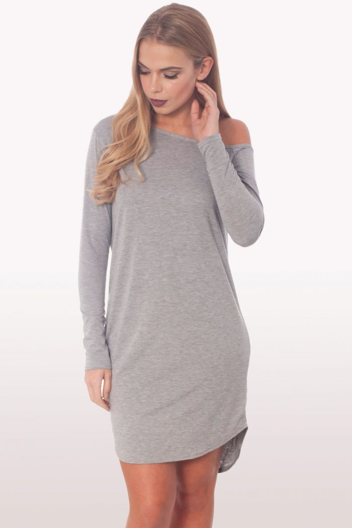 Light Grey Dip Curved Hem Off The Shoulder Dress
