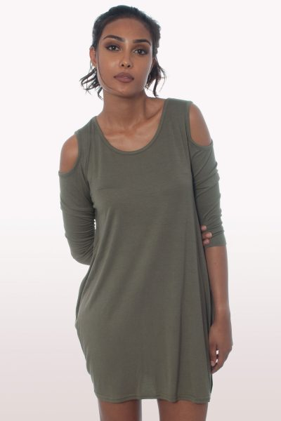 Khaki Cold Shoulder Batwing Top