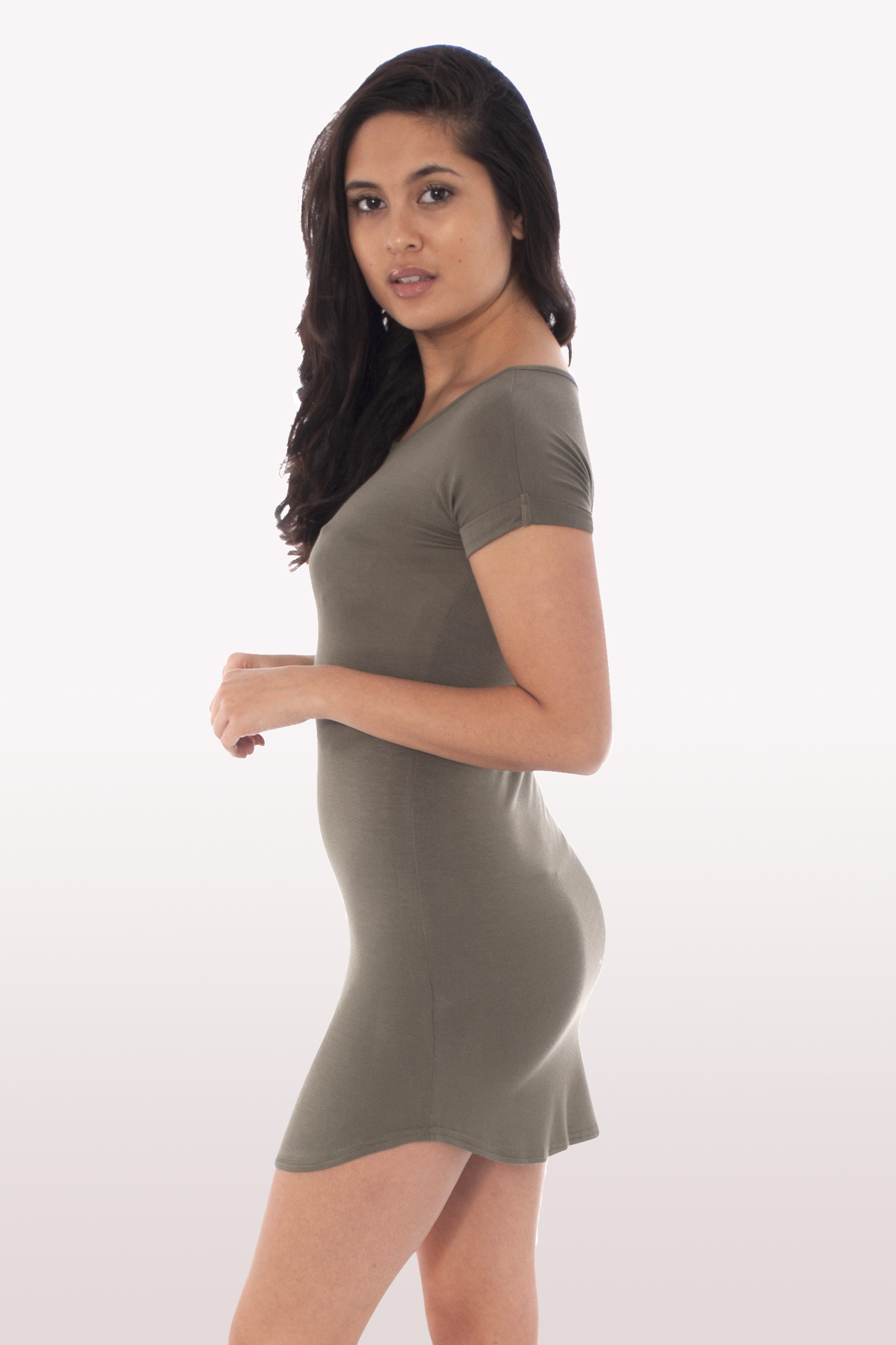 160c619799f9 Khaki Curved Hem Bodycon Dress