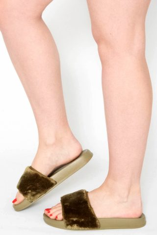 Acacia Khaki Faux Fur Sliders