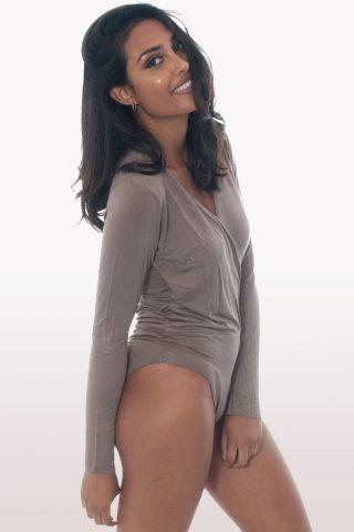 mocha plunge wrap over bodysuit