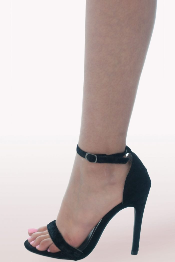Black Crushed Velvet Barely There Heels