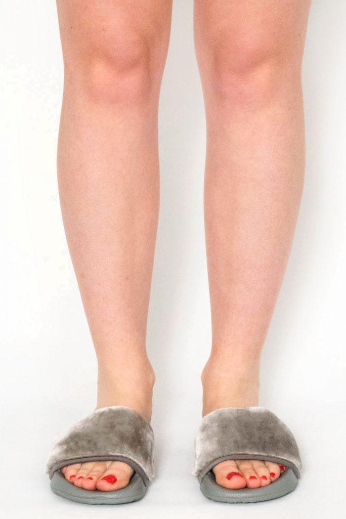 Acacia Grey Faux Fur Sliders