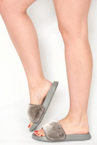 Acacia Grey Faux Fur Sliders