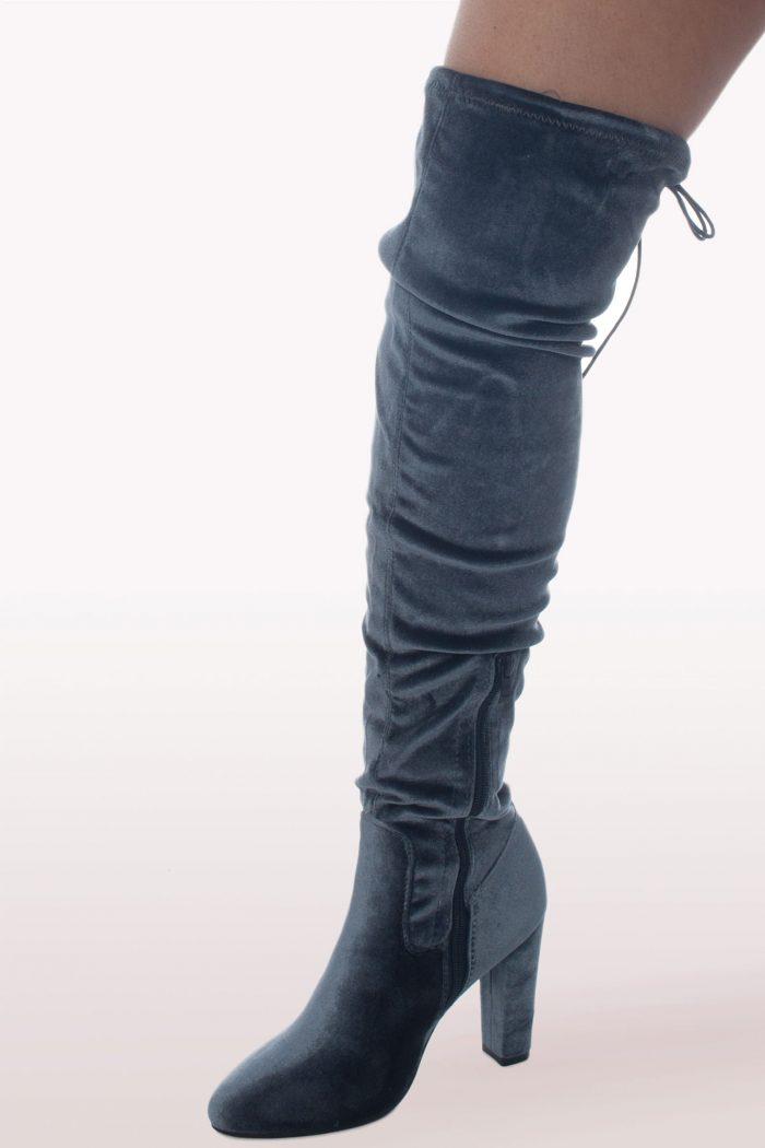 Grey Velvet Over The Knee Boots