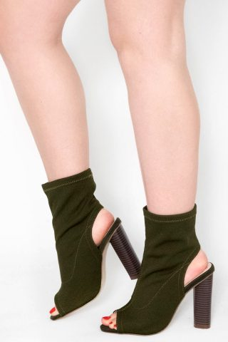 Gliona Khaki Cut Out Stacked Knit Ankle Boots