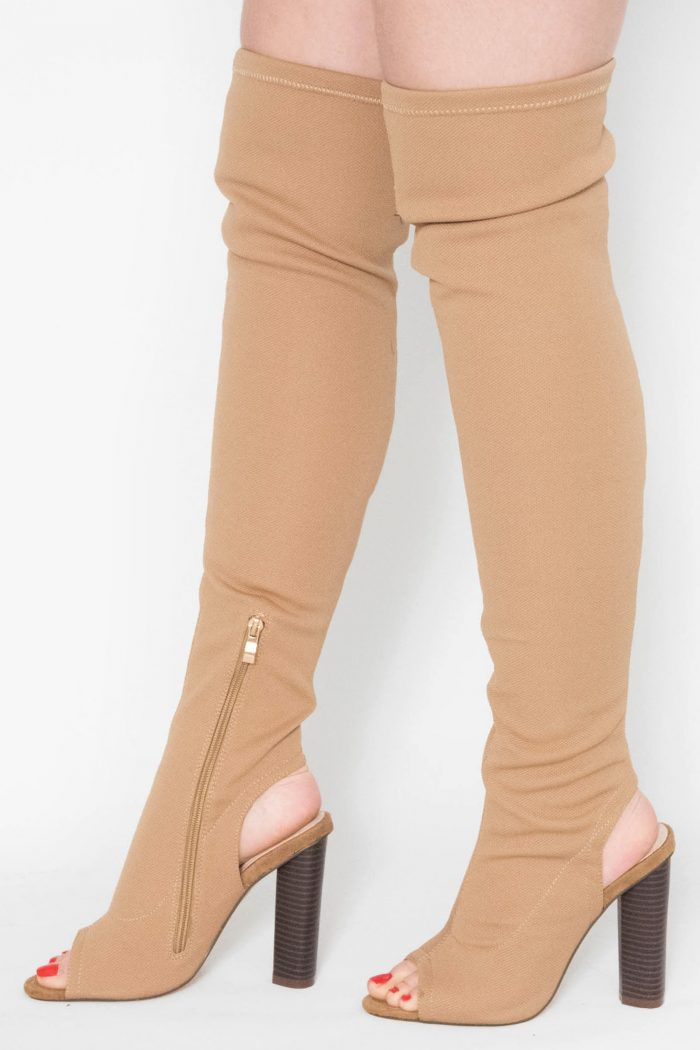 Helene Camel Knitted Cut Out Knee High Boots