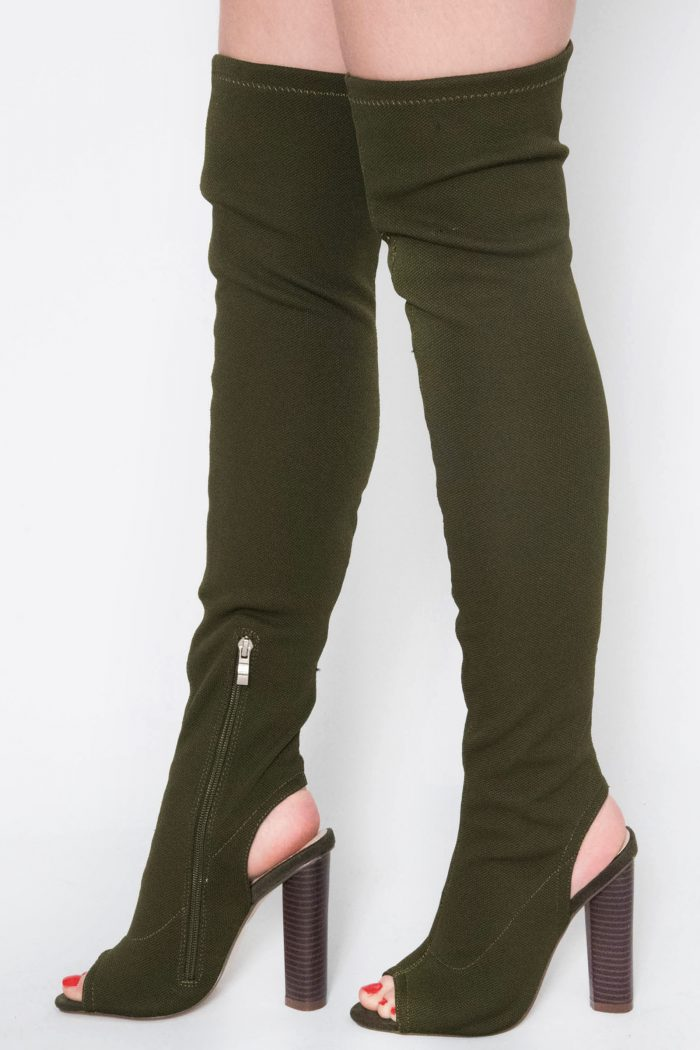 Helene Khaki Knitted Cut Out Over The Knee Boots