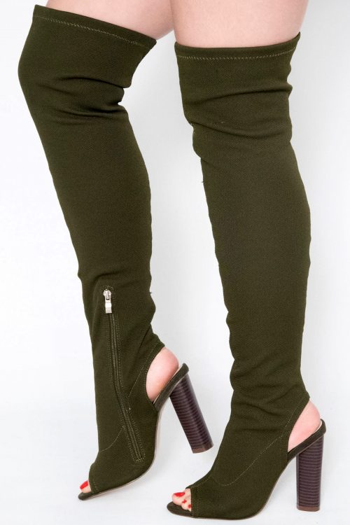 a95e5699378 Helene Khaki Knitted Cut Out Over The Knee Boots