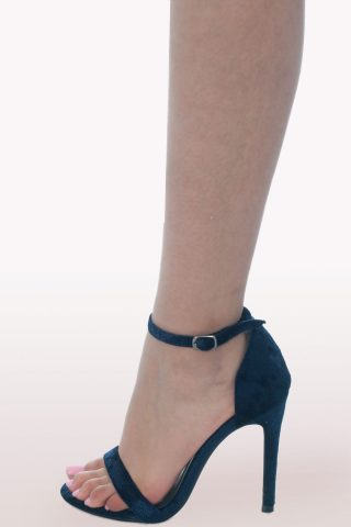 Blue Crushed Velvet Barely There Heels